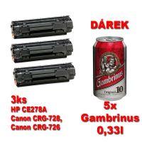 3ks kompatibilní toner HP CE278A, CRG-728, CRG-726, black, MP print + 5x pivo 0,33l