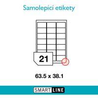Samolepící bílé etikety Smart Line A4  63,5 x 38,1 mm 100 archů