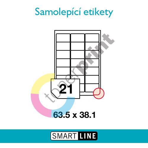 Samolepící bílé etikety Smart Line A4  63,5 x 38,1 mm 100 archů 1