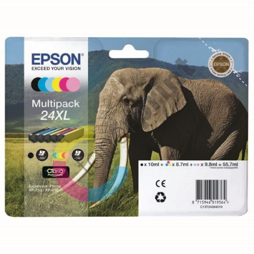 Cartridge Epson C13T24384011, T2438, CMYK/light C/light M, originál 1