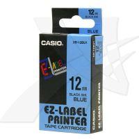 Páska Casio XR-12BU1 12mm černý tisk/modrý podklad