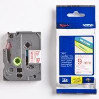 Páska Brother TZE-222, 9mm, červený tisk/bílý podklad, originál