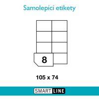 Samolepící bílé etikety Smart Line A4 105 x 74 mm 100 archů