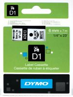 Páska Dymo D1 6 mm, černý tisk/bílý podklad, 43613, S0720780