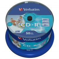 Verbatim CD-R, Wide Inkjet Printable, 700 MB, cake box, 43438, 52x, 50-pack