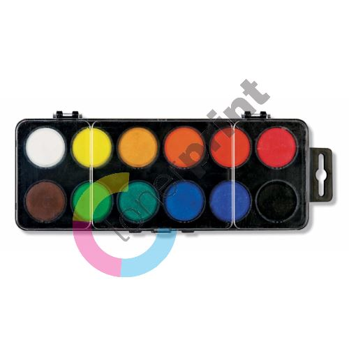 Vodové barvy 30mm 12 odstínů,obdélnikové, KOH-I-NOOR 1