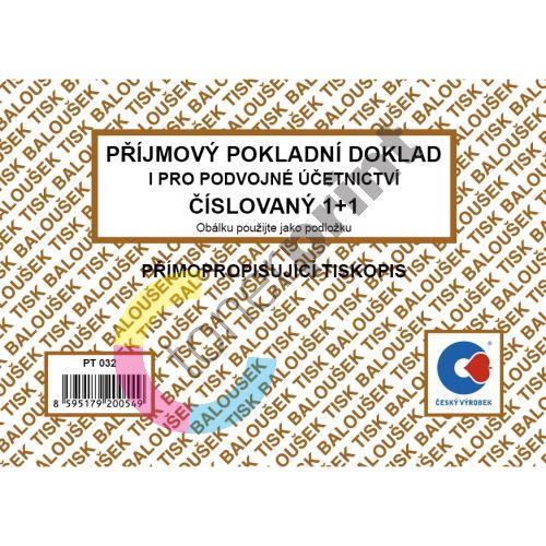 Příjmový pokladní doklad pro podv. účetn. číslovaný samopropis PT-032 50 listů jeden 1