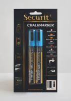 Střední křídový popisovač Securit, šířka hrotu 2-6 mm 2kusy, modrý
