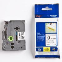 Páska Brother TZE-S221, 9mm, černý tisk/bílý podklad, adhezivní, originál