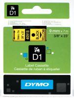 Páska Dymo D1 9mm x 7m, černý tisk/žlutý podklad, 40918, S0720730
