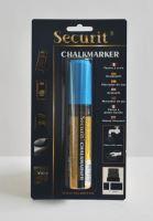 Silný křídový popisovač Securit, šířka hrotu 7-15 mm, modrý, blistr