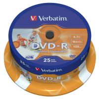 Verbatim DVD-R, DataLife PLUS, 4,7 GB, Wide Printable, cake box, 43538, 16x, 25-pack