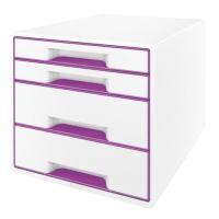 Zásuvkový box Leitz WOW, 4 zásuvky, purpurový