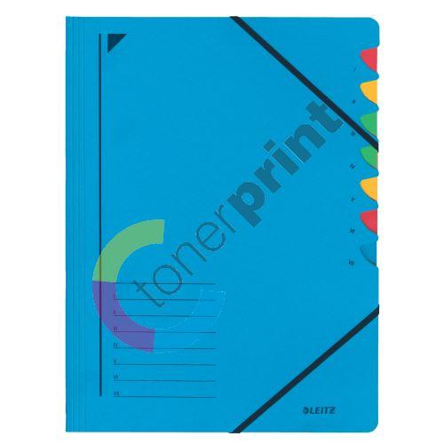 Třídící desky Leitz s gumičkou, 7 přihrádkové, modré 1