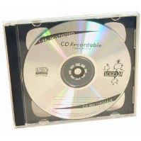 Box na 2 ks CD, průhledný, černý tray, 200-pack