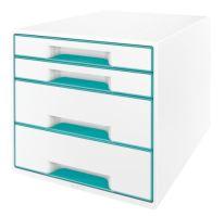 Zásuvkový box Leitz WOW, 4 zásuvky, ledově modrý
