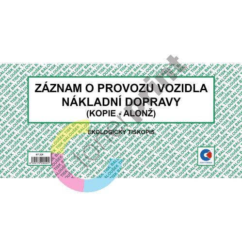 Záznam o provozu vozidel nákl. dopravy-kopie  A5 ET-220 / 50 listů jeden blok 1