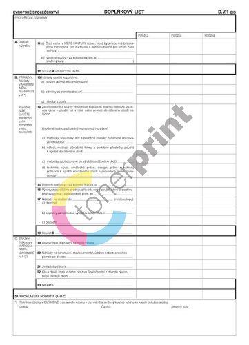 Prohlášení o údajích o celní hodnotě A4, doplňkový list, OP1194 1