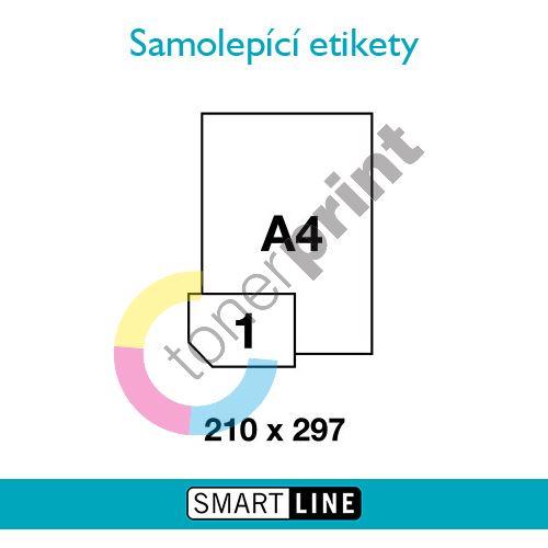 Samolepící bílé etikety Smart Line A4 210 x 297 mm 100 archů 1