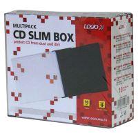 Box na 1 ks CD, průhledný, černý tray, tenký, LOGO, 10-pack