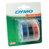 Páska Dymo 9mm x 3m černý tisk/černý, modrý, červený podklad, 3D, 1 blistr/3ks, S0847750