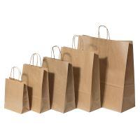 Papírová taška s krouceným uchem, 240x110x330mm, hnědá