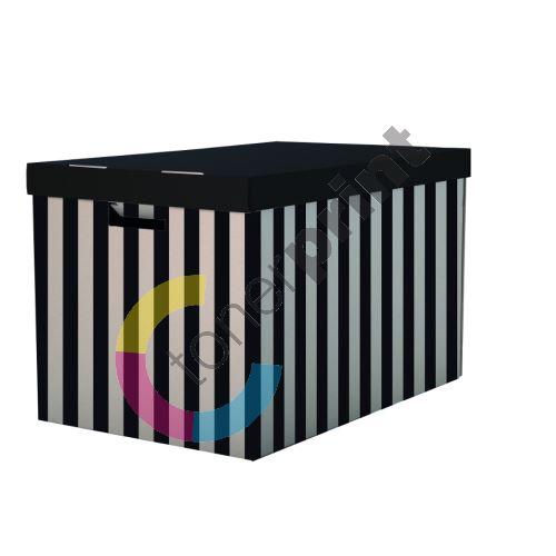 Úložná krabice s víkem 56x37x36cm, 2ks, černá 1