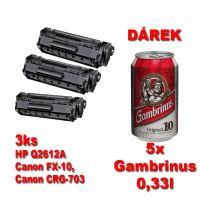 3ks kompatibilní toner HP Q2612A, FX-10, CRG-703, black, MP print + 5x pivo 0,33l