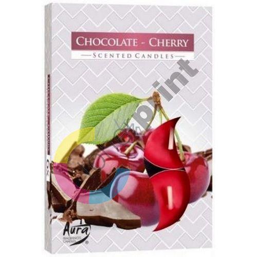 Bispol Aura Chocolate Cherry - Čokoláda a třešně vonné čajové svíčky 6 kusů 1