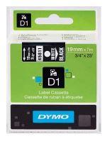 Páska Dymo D1 19mm x 7m, bílý tisk/černý podklad, 45811, S0720910