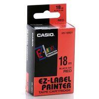 Páska Casio XR-18RD1 18mm černý tisk/červený podklad