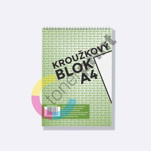 Bobo kroužkový blok A4, horní spirála 50 listů, čtvereček 2
