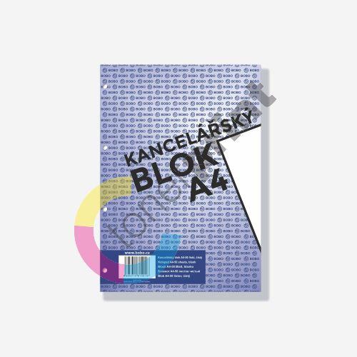 Bobo kancelářský blok A4, 50 listů, 4 díry, čistý 1
