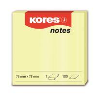 Bloček Kores samolepící 75x75mm 100 listů žlutý