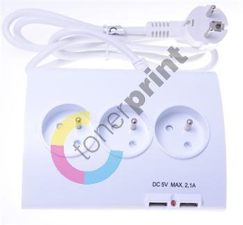 Prodlužovací přívod 230V 1,5m 5zásuvek+vypínač+2x USB 1