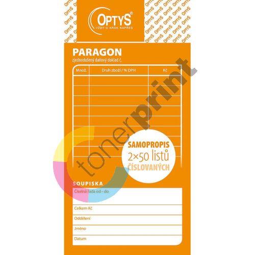 Obchodní paragon, samopropisovací číslovaný, 2 x 50 listů, OP1089 1