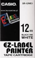 Páska Casio XR-12WE1 12mm černý tisk/bílý podklad