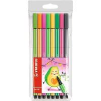 Sada fixů Pen 68 Living Colors, 8 různých barev, Avokádo, 1 mm, STABILO