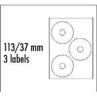 Etikety CD 113/37 mm, A4, lesklé, bílé, 3 etikety, 210g/m2, 10ks