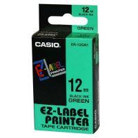 Páska Casio XR-12GN1 12mm černý tisk/zelený podklad