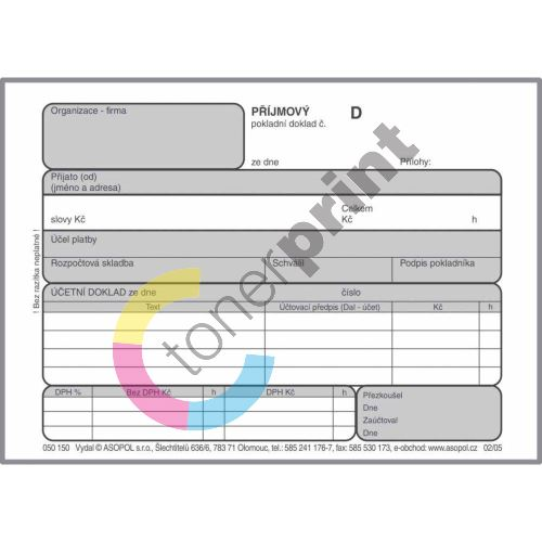 Příjmový pokladní doklad s DPH nečíslovaný Asopol 050170 1