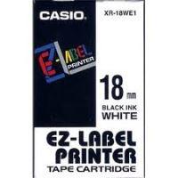 Páska Casio XR-18WE1 18mm černý tisk/bílý podklad