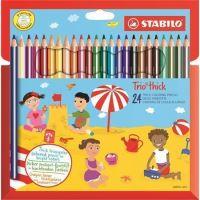 Barevné pastelky STABILO Trio thick, 24 barev, trojhranné, jumbo