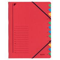 Třídící desky Leitz s gumičkou, 12 přihrádkové, červené