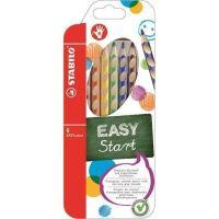 Barevná pastelka Easycolours, HB, trojhranná, pro praváky, 6ks/ bal. , STABILO