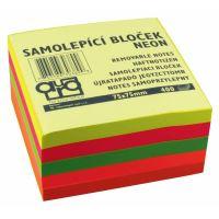 Samolepící bloček 75x75 neonový mix, Auro, 400l