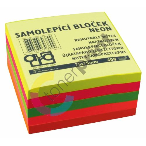 Samolepící bloček 75x75 neonový mix, Auro, 400l 1