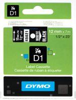Páska Dymo D1 12 mm bílý tisk/černý podklad, 45021, S0720610