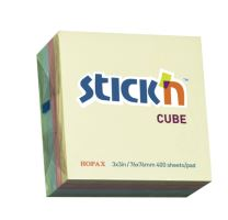 Samolepící bločky Stick'n 76x76mm, Pastel mix, 400 listků
