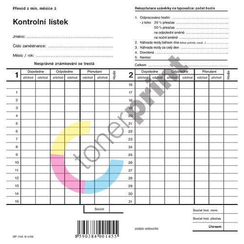 Kontrolní lístek, dvojitá píchačka, OP1145 1